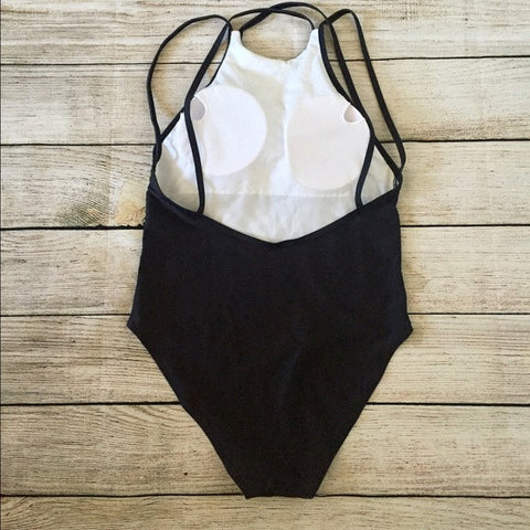 Back and white Geometric Swimming suite One Piece