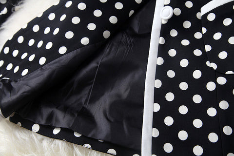 Black and White Long Jacket with Polka Dot