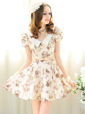 Floral Dress in Beige