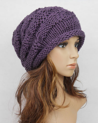 Slouchy woman handmade knitted hat cap in black