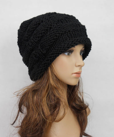 Slouchy woman handmade knitted hat clothing cap in Brown