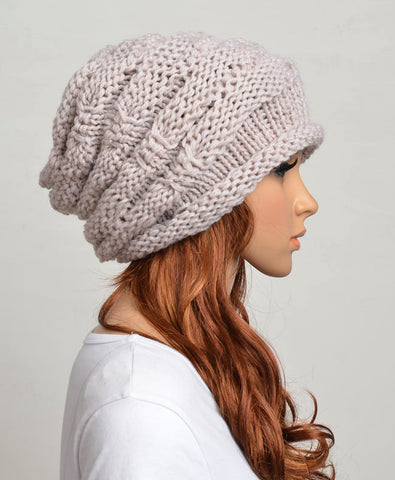 Slouchy woman handmade knitted hat clothing cap in Purple