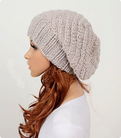 Slouchy woman handmade knitted hat cap beige