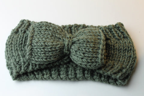 handmade knitted crochet headband head warmer with bow in green