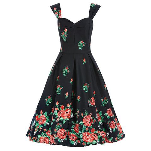 Black Floral  Vintage Halter Dress