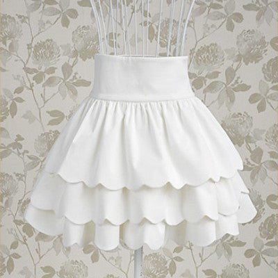 White Three Layer Short Skirt