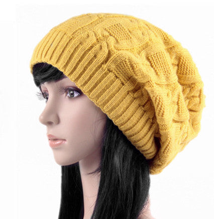 Yellow Slouchy Knitted Hat