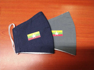 Facemask with Myanmar flag sticker