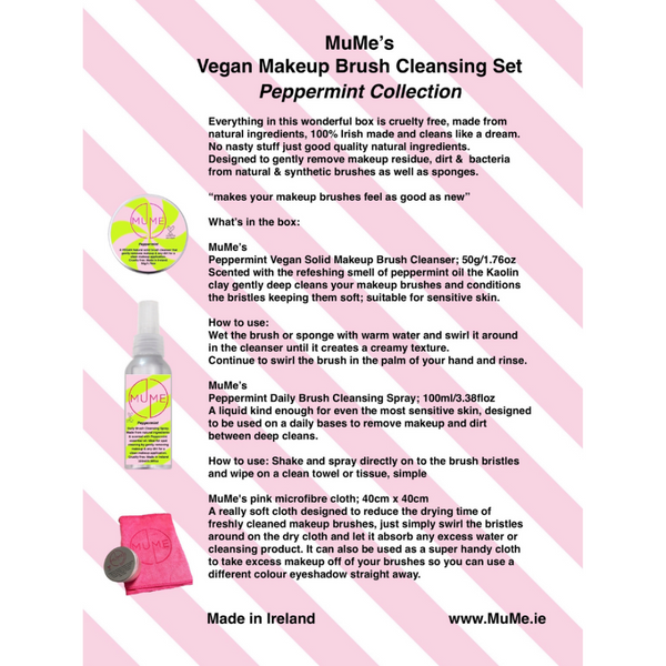 MuMe's Peppermint Collection Vegan Makeup Brush Cleansing Set
