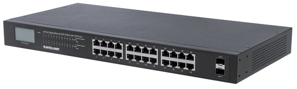 24-Port Gigabit Ethernet PoE+ Switch with 2 SFP Ports and LCD Screen Image 1