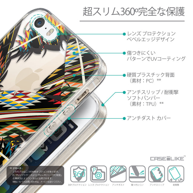 Details in Japanese - CASEiLIKE Apple iPhone 5GS back cover Indian 2053 Tribal Theme Pattern