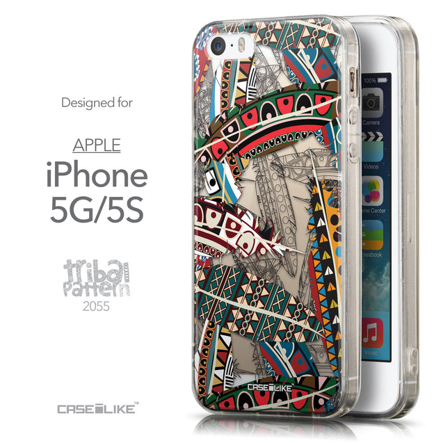 Front & Side View - CASEiLIKE Apple iPhone 5GS back cover Indian 2055 Tribal Theme Pattern
