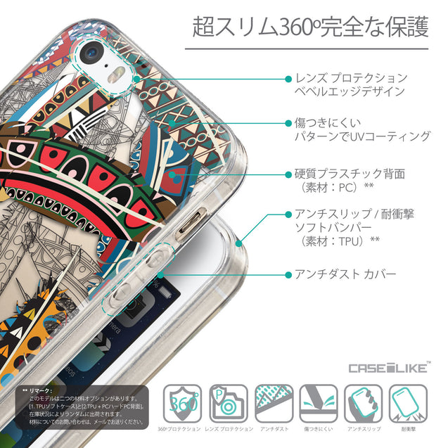 Details in Japanese - CASEiLIKE Apple iPhone 5GS back cover Indian 2055 Tribal Theme Pattern