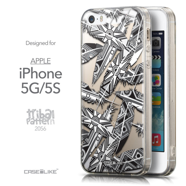 Front & Side View - CASEiLIKE Apple iPhone 5GS back cover Indian 2056 Tribal Theme Pattern