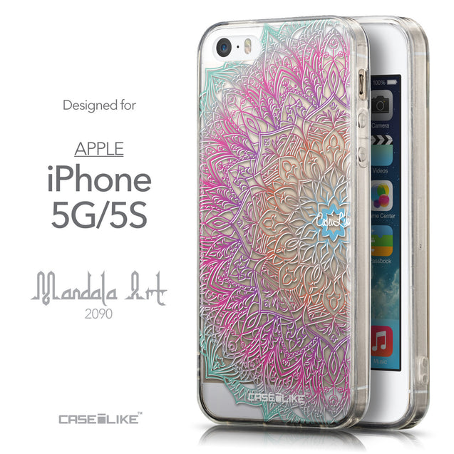 Front & Side View - CASEiLIKE Apple iPhone 5GS back cover Mandala Art 2090