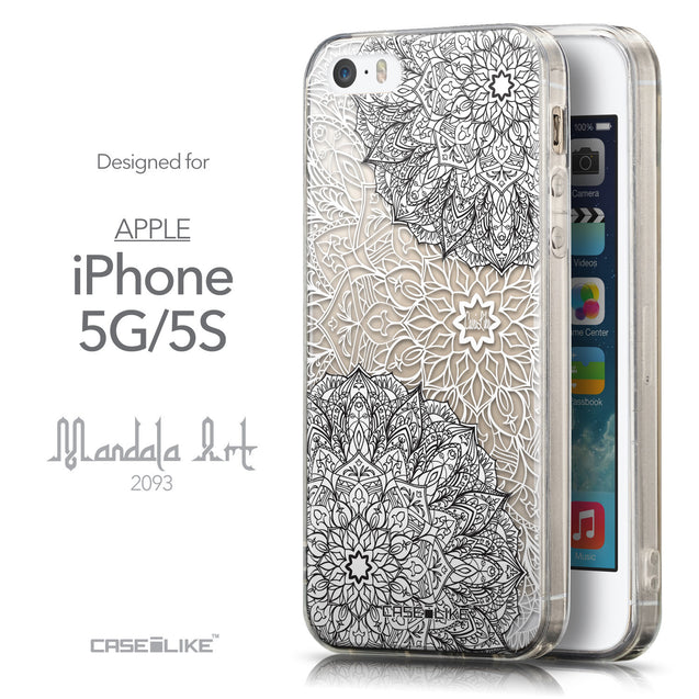 Front & Side View - CASEiLIKE Apple iPhone 5GS back cover Mandala Art 2093