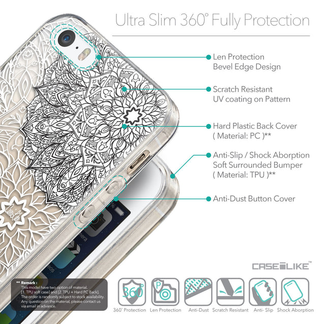 Details in English - CASEiLIKE Apple iPhone 5GS back cover Mandala Art 2093