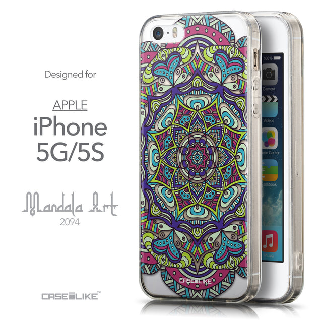 Front & Side View - CASEiLIKE Apple iPhone 5GS back cover Mandala Art 2094
