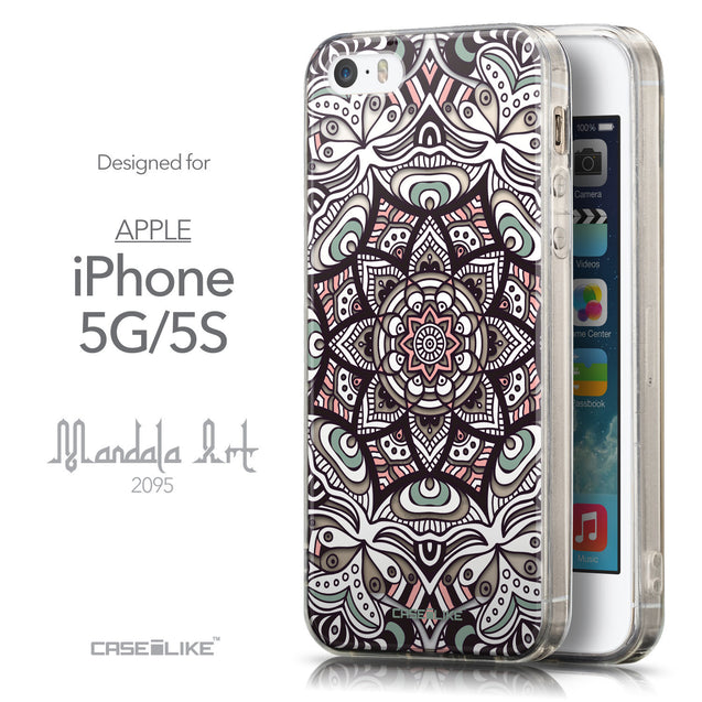 Front & Side View - CASEiLIKE Apple iPhone 5GS back cover Mandala Art 2095