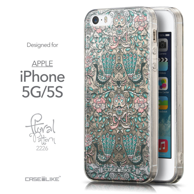 Front & Side View - CASEiLIKE Apple iPhone 5GS back cover Roses Ornamental Skulls Peacocks 2226