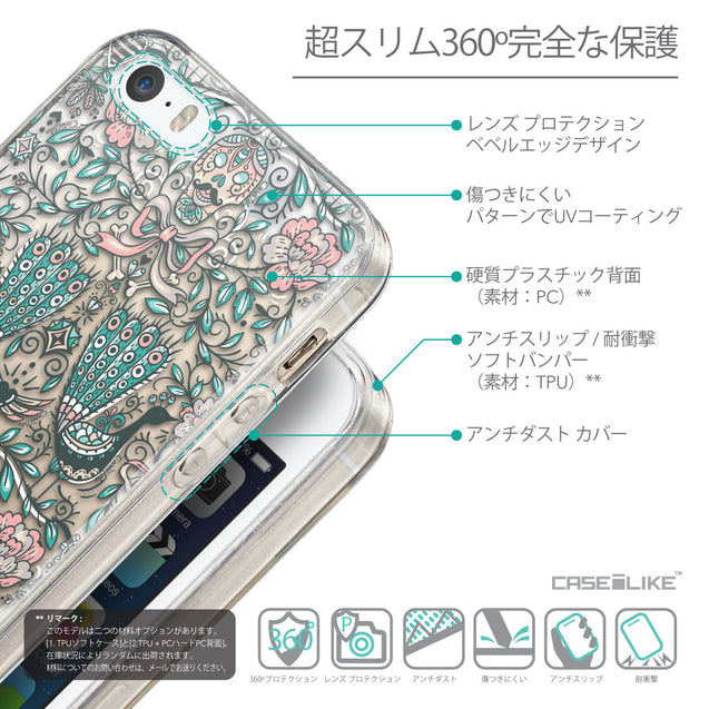Details in Japanese - CASEiLIKE Apple iPhone 5GS back cover Roses Ornamental Skulls Peacocks 2226