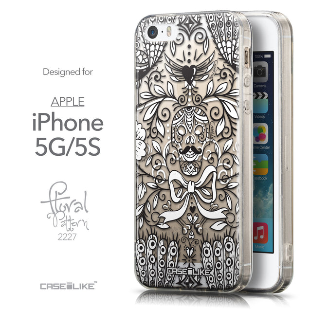 Front & Side View - CASEiLIKE Apple iPhone 5GS back cover Roses Ornamental Skulls Peacocks 2227