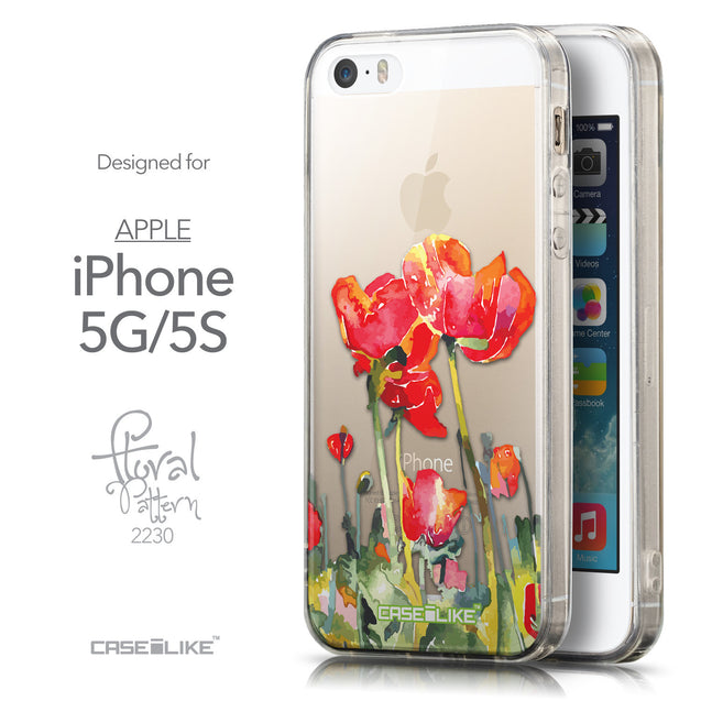 Front & Side View - CASEiLIKE Apple iPhone 5GS back cover Watercolor Floral 2230