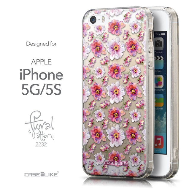 Front & Side View - CASEiLIKE Apple iPhone 5GS back cover Watercolor Floral 2232