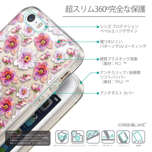 Details in Japanese - CASEiLIKE Apple iPhone 5GS back cover Watercolor Floral 2232