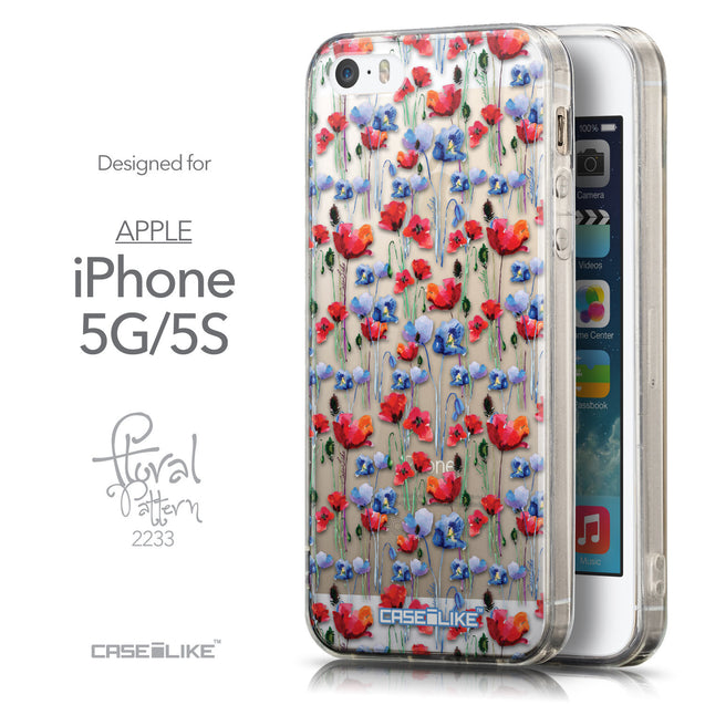 Front & Side View - CASEiLIKE Apple iPhone 5GS back cover Watercolor Floral 2233