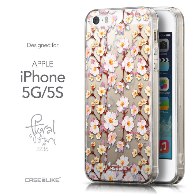 Front & Side View - CASEiLIKE Apple iPhone 5GS back cover Watercolor Floral 2236