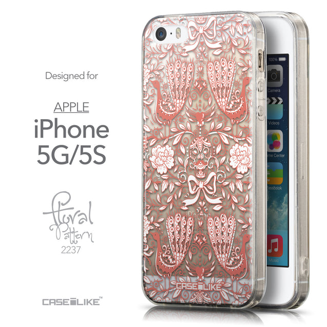 Front & Side View - CASEiLIKE Apple iPhone 5GS back cover Roses Ornamental Skulls Peacocks 2237