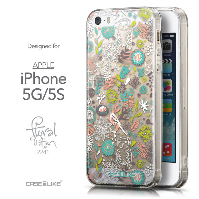 Front & Side View - CASEiLIKE Apple iPhone 5GS back cover Spring Forest White 2241