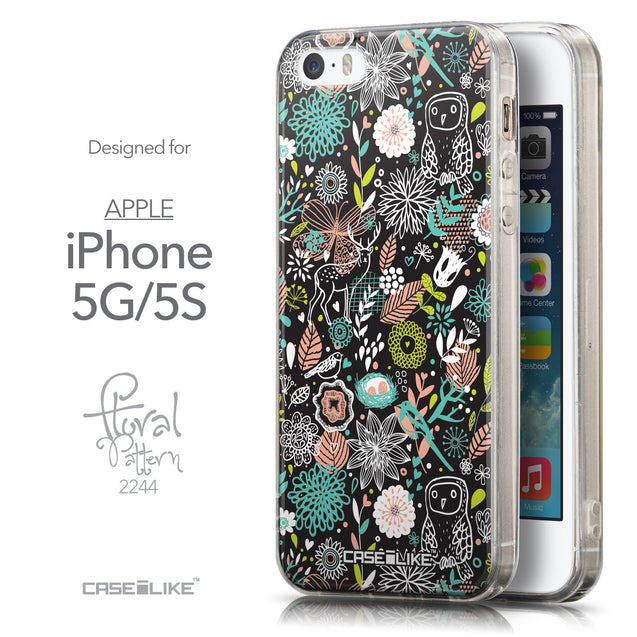 Front & Side View - CASEiLIKE Apple iPhone 5GS back cover Spring Forest Black 2244