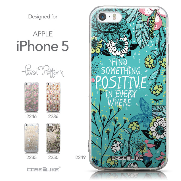 Collection - CASEiLIKE Apple iPhone 5GS back cover Blooming Flowers Turquoise 2249