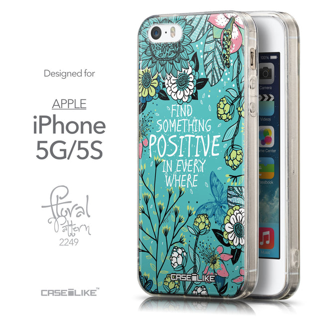 Front & Side View - CASEiLIKE Apple iPhone 5GS back cover Blooming Flowers Turquoise 2249