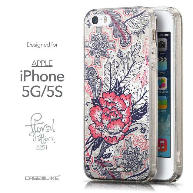 Front & Side View - CASEiLIKE Apple iPhone 5GS back cover Vintage Roses and Feathers Beige 2251
