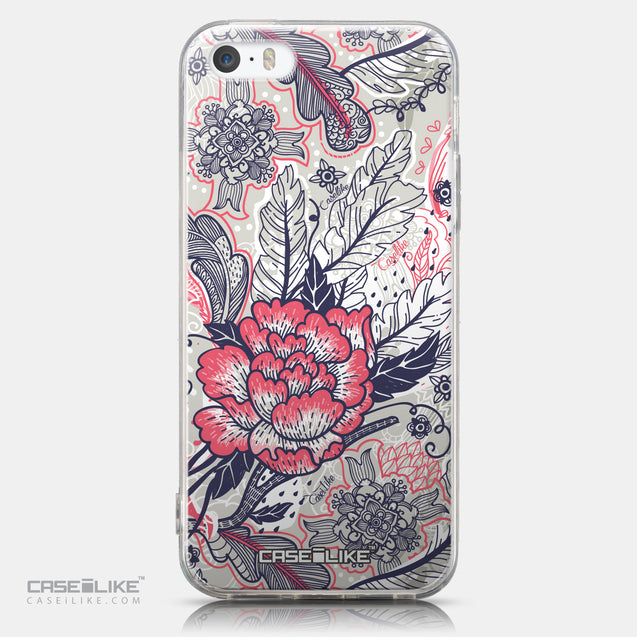 CASEiLIKE Apple iPhone 5GS back cover Vintage Roses and Feathers Beige 2251