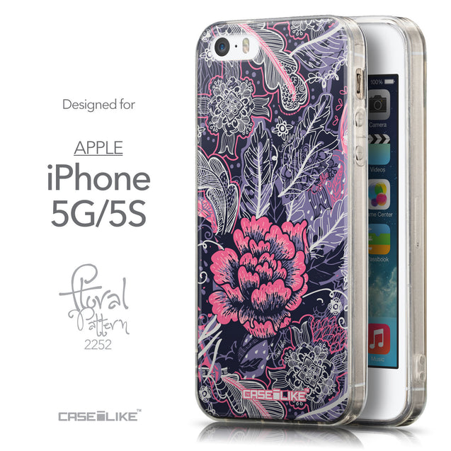 Front & Side View - CASEiLIKE Apple iPhone 5GS back cover Vintage Roses and Feathers Blue 2252