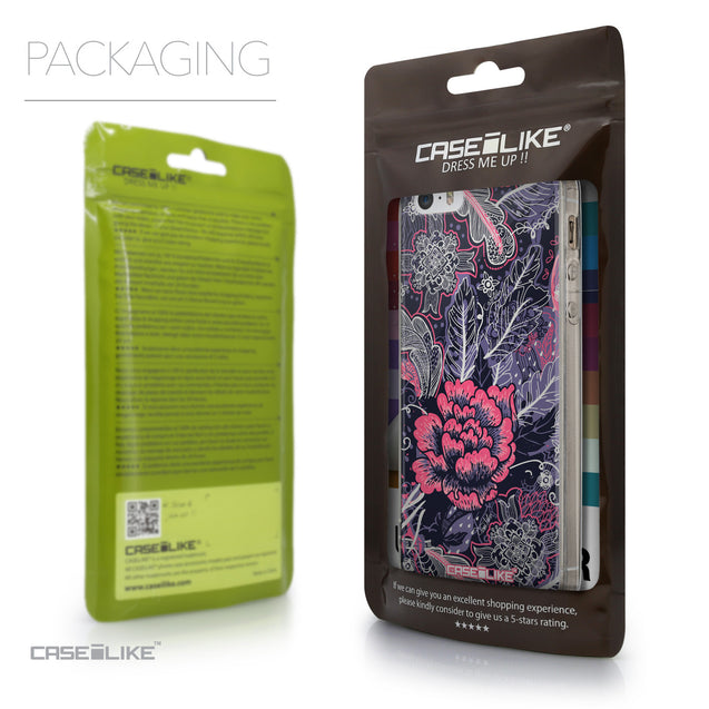 Packaging - CASEiLIKE Apple iPhone 5GS back cover Vintage Roses and Feathers Blue 2252