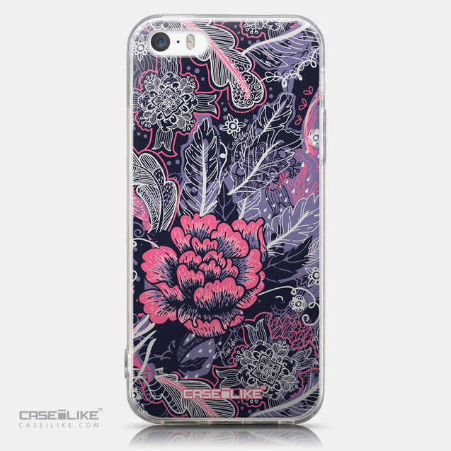 CASEiLIKE Apple iPhone 5GS back cover Vintage Roses and Feathers Blue 2252