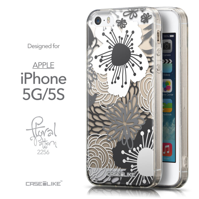 Front & Side View - CASEiLIKE Apple iPhone 5GS back cover Japanese Floral 2256