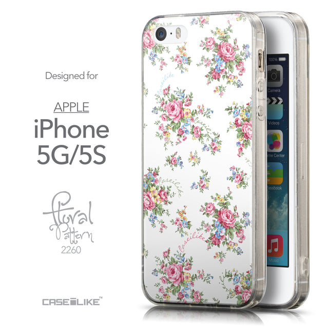 Front & Side View - CASEiLIKE Apple iPhone 5GS back cover Floral Rose Classic 2260