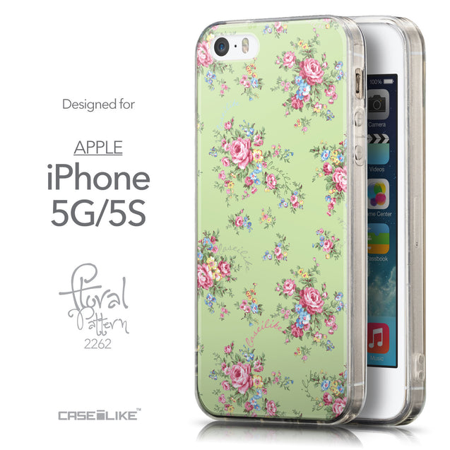 Front & Side View - CASEiLIKE Apple iPhone 5GS back cover Floral Rose Classic 2262
