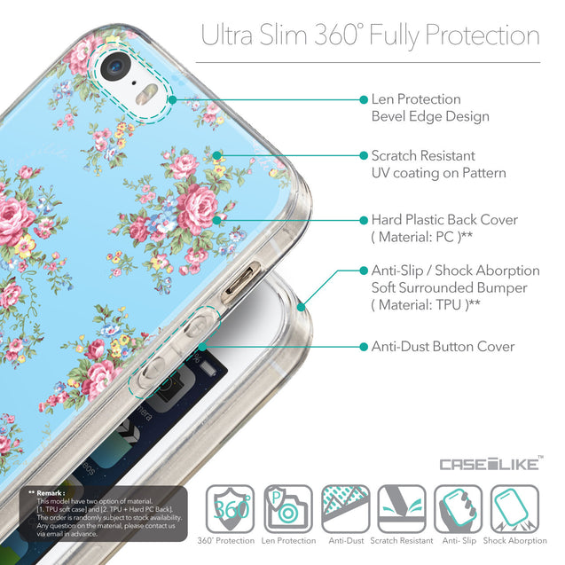 Details in English - CASEiLIKE Apple iPhone 5GS back cover Floral Rose Classic 2263