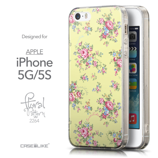 Front & Side View - CASEiLIKE Apple iPhone 5GS back cover Floral Rose Classic 2264