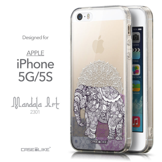 Front & Side View - CASEiLIKE Apple iPhone 5GS back cover Mandala Art 2301