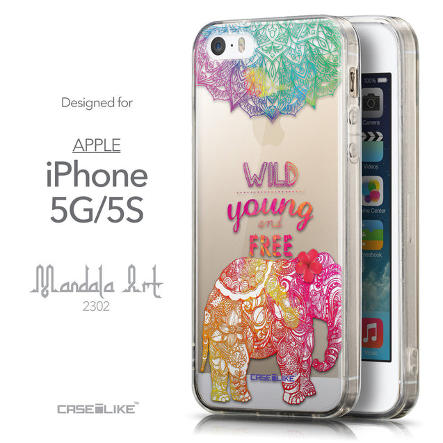 Front & Side View - CASEiLIKE Apple iPhone 5GS back cover Mandala Art 2302