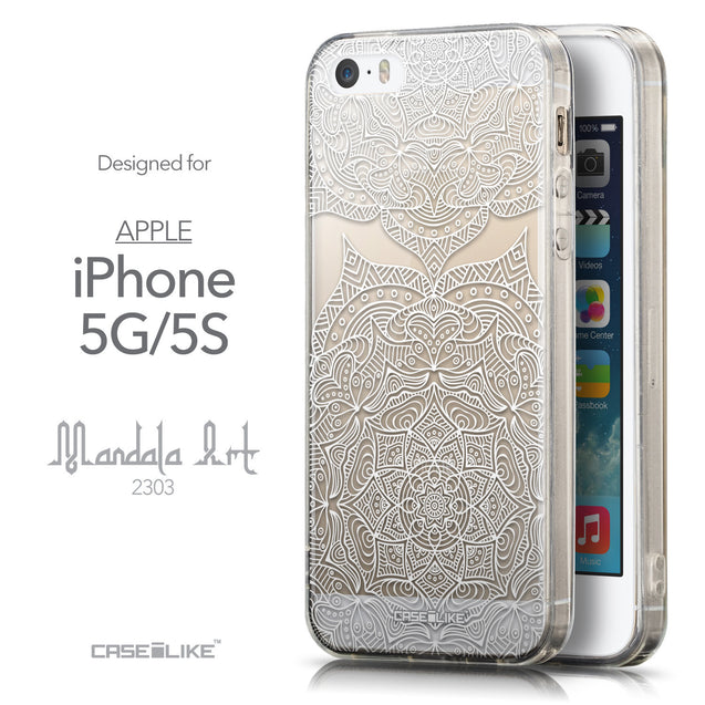 Front & Side View - CASEiLIKE Apple iPhone 5GS back cover Mandala Art 2303