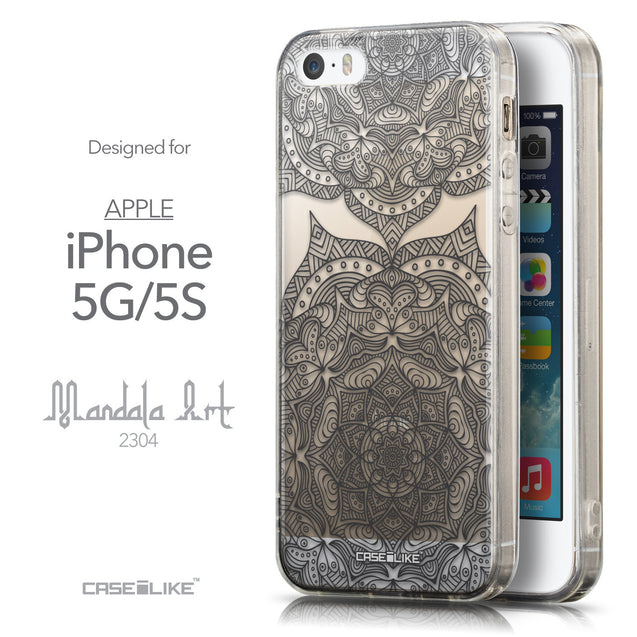 Front & Side View - CASEiLIKE Apple iPhone 5GS back cover Mandala Art 2304